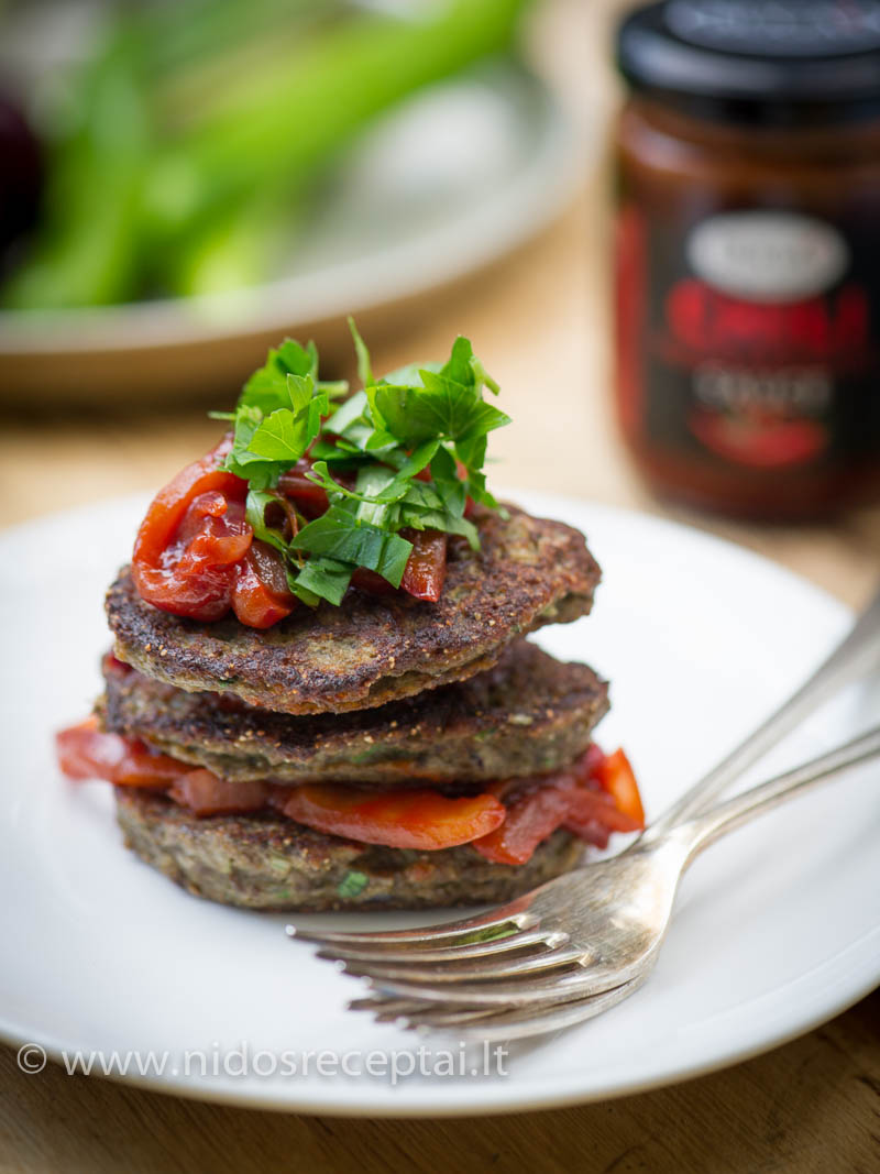 Liver patties with sweet onion chili dressing