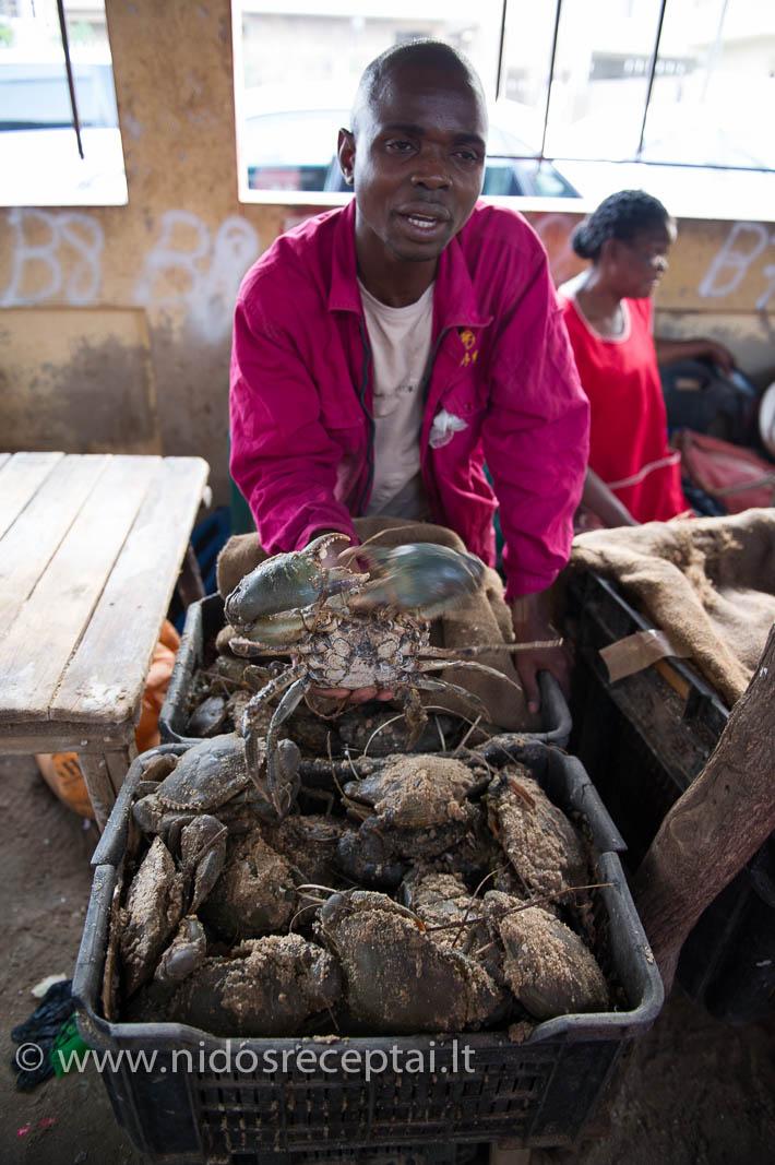 Gyvi, dar ropojantys krabai Maputo žuvų turguje