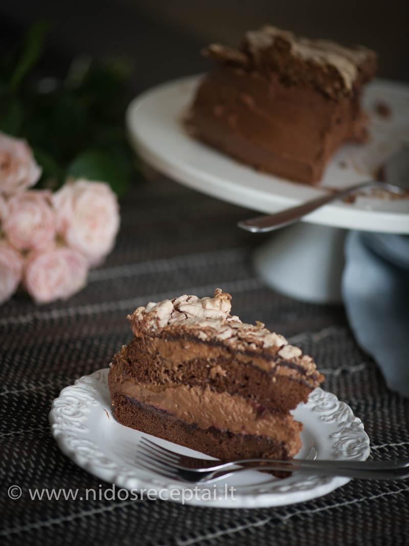 Purus šokoladinis bisvitas, perteptas serbentų džemu, šokoladiniu mascarpone kremu ir riešutų sviesto kremu, o ant viršaus - traškus šokoladinis biskvitas