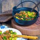 Stir fry su malta mesa ir darzovem